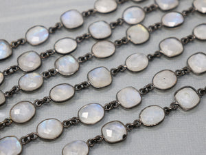 Rainbow Moonstone Square/Oval Faceted Bezel Chain, (BC-RNB-230) - Beadspoint