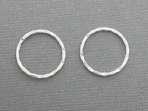 2 Pcs, Sterling Silver hammered Circle (LC-30) - Beadspoint