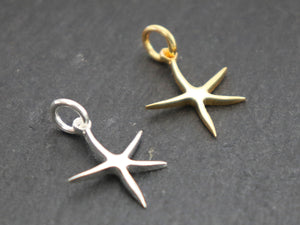2 PCS Sterling Silver Starfish Charms (HT-8254) - Beadspoint