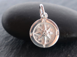 2 PCS Sterling Silver Compass Charms (HT-8255) - Beadspoint