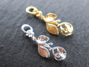 Sterling Silver Leaf Branch Charms (HT-8258) - Beadspoint