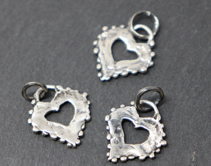 Sterling Silver Dotted Heart Charm, (AF-89) (CRC) - Beadspoint