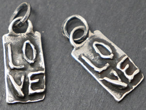 Sterling Silver Love on Rectangle Charm, (AF-78) (CRC) - Beadspoint