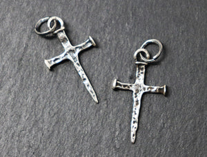 Sterling Silver hammered Cross charm, (AF-76) (CRC) - Beadspoint