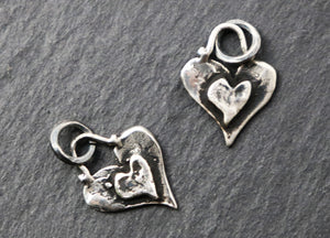 Sterling Silver Heart Layered Charm, (AF-86) (CRC) - Beadspoint