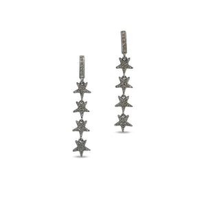 Pave Diamond Star Dangle Earrings- Celestial Dangle Earrings, (DER-1044) - Beadspoint