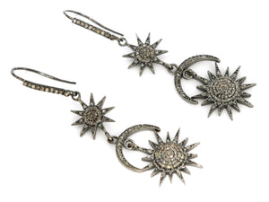 Pave Diamond Star and Crescent Moon Dangle Earrings, (DER-1045) - Beadspoint
