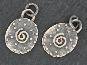 Artisan Sterling Silver Dotted Oval with Spiral Chram,(AF-306) - Beadspoint