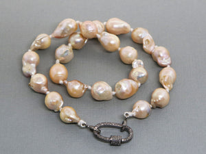 Silk Hand Knotted Keshi Pearl  Necklace w/ Pave Diamond Oval Carabiner Clasp, (DCHN-40) - Beadspoint
