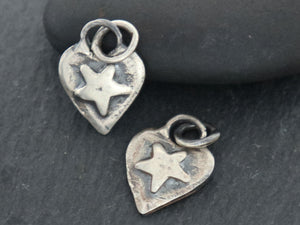 Sterling Silver Artisan  Heart with Raised Star Charm, (AF-317) - Beadspoint
