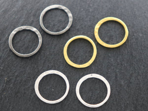4 Pcs, Sterling Silver Hammered Circle Link (LC-48-B) - Beadspoint