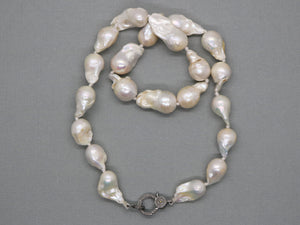 Large Baroque Pearl Silk Hand Knotted Necklace w/ Pave Diamond Clasp , (DCHN-25) - Beadspoint