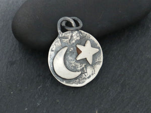 Moon And Star Artisan Charm In Sterling Silver, (AF-330) - Beadspoint