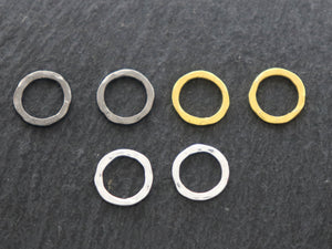 4 PCS Sterling Silver Hammered Rings, 10 mm (LC-54-A) - Beadspoint