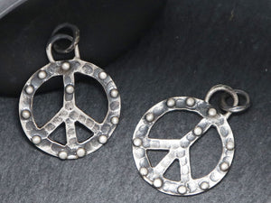 Artisan Sterling Silver Dotted Peace Charm, (AF-333) - Beadspoint