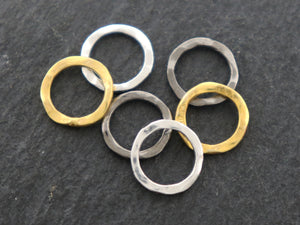 4 Pcs, Sterling Silver Hammered Circle Links, 10 mm  (LC-56-A) - Beadspoint