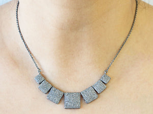 Pave Diamond Square Bar Necklace with Clasp, (DNK-015) - Beadspoint