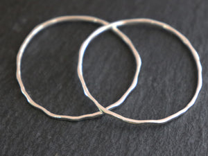 2 Pcs, Sterling Silver Hammered Circle Links, 35 mm  (LC-56-G) - Beadspoint