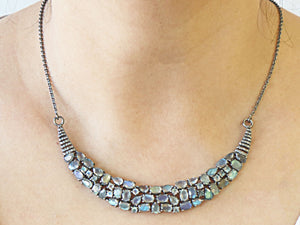 Pave Diamond And Labradorite Necklace with Clasp, (DNK-004) - Beadspoint