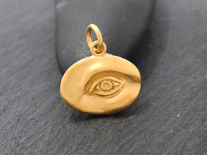 Gold Vermeil Over Sterling Silver Evil Eye charm -- (VM/CH2/CR117) - Beadspoint
