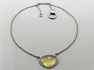 Pave Diamond and Lemon Topaz Necklace with Clasp, (DNK-007) - Beadspoint
