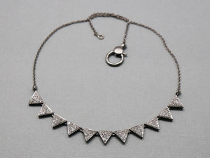 Pave Diamond Chevron Necklace with Clasp, (DNK-008) - Beadspoint