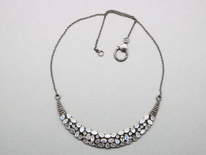 Pave Diamond And Rainbow Moonstone Necklace with Clasp, (DNK-005) - Beadspoint