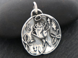 Sterling Silver French Rose charm -- (SS/CH4/CR130)--CRC - Beadspoint