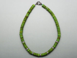 Pave Diamond Green Turquoise Heishi Necklace with Diamond Clasp, (DNK-018) - Beadspoint