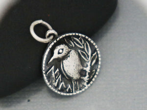 Sterling Silver Bird on Branch charm -- (SS/CH6/CR63) --CRC - Beadspoint