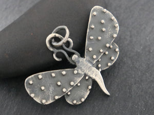 Sterling Silver Artisan Large Dotted Dragon Fly Charm, (AF-343) - Beadspoint