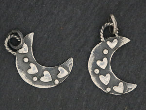 Sterling Silver Artisan Moon w/ heart (AF-349) - Beadspoint