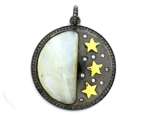 Pave Diamond Moonstone Moon and Star Pendant, (DMN-1000) - Beadspoint