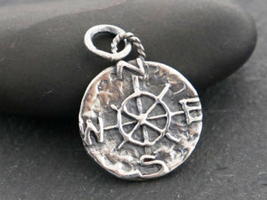 Sterling Silver Compass Charm , (AF-68) (CRC) - Beadspoint