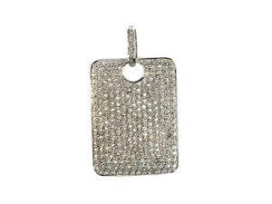 Pave Diamond Rectangle Tag Pendant, (DPM-1200)