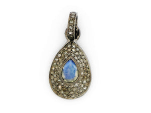 Pave Diamond Drop Pendant with Moonstone,  (DPS-062) - Beadspoint