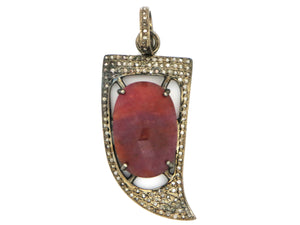 Pave Diamond Sapphire and Ruby Arrowhead Pendant -- DSP-7007 - Beadspoint