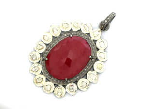 Pave Diamond  & Ruby Rose Cut Pendant, --DRB-7018