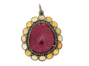 Pave Diamond Ruby and Ethiopian Opal Pendant -- DRB-7022 - Beadspoint