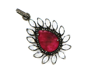 Pave Diamond Ruby and Rainbow Moonstone Pendant, (DRB-7049) - Beadspoint