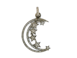 Pave Diamonds Moon and Star Pendant, (DPL-2329) - Beadspoint