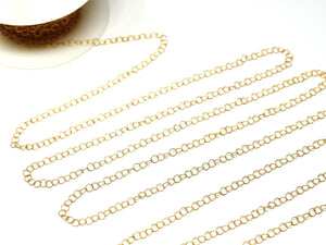 14k Gold Filled Twisted pattern round cable chain, 3.5 mm links, (GF-001) - Beadspoint