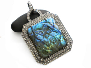 Pave Diamond Carved Labradorite Pendant, (DLB-046)