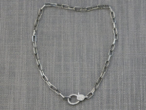 Diamond Elongated Link Chain with Diamond Lobster Clasp , (DCHN-06) - Beadspoint