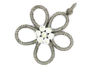 Pave Rose Cut Diamond Flower Pendant, (DRC-5006) - Beadspoint