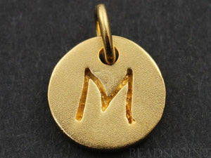 "24K Gold Vermeil Over Sterling Initial ""M"" on a Disc Charm -- VM/2034/M"