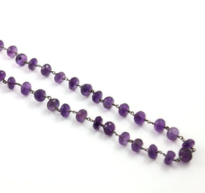 Amethyst Faceted Roundels Wire Wrapped Chain, (RS-AM-183) - Beadspoint