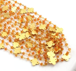 Carnelian Wire Wrapped Rosary with Gold Flower Chain, (RS-CAR-42) - Beadspoint