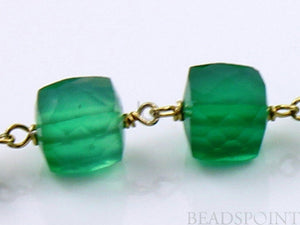 Green Onyx  Faceted  Cube Chain, (RS-GRX-159) - Beadspoint