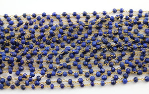 Lapis Wire Wrapped Rosary Chain with Gold Finish, (RS-LAP-74) - Beadspoint